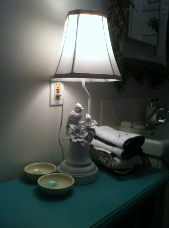 This bird lamp was thrifted from Value Village and spray painted white. The shade is from Walmart.